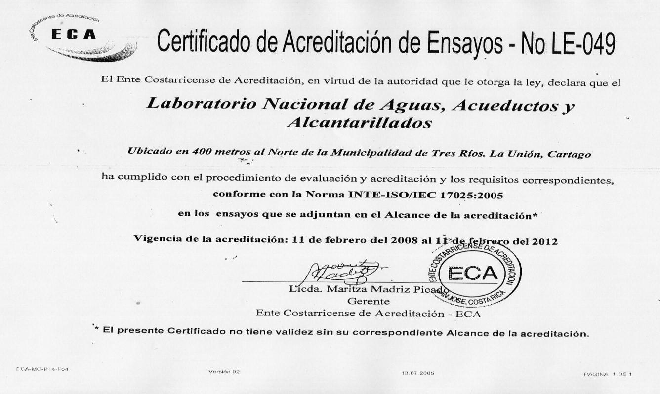 Laboratorio Nacional de Aguas - Antecedentes
